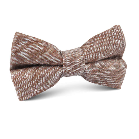 Brown Linen Chambray Kids Bow Tie