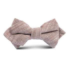 Brown Linen Chambray Kids Diamond Bow Tie