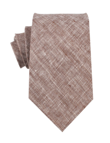 Brown Linen Chambray Necktie