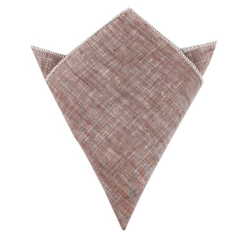 Brown Linen Chambray Pocket Square