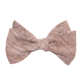 Brown Linen Chambray Self Tie Bow Tie