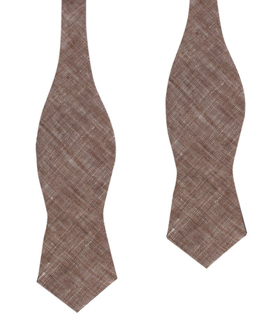 Brown Linen Chambray Self Tie Diamond Bow Tie