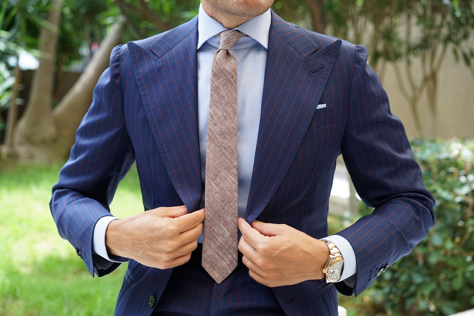 Brown Linen Chambray Skinny Tie