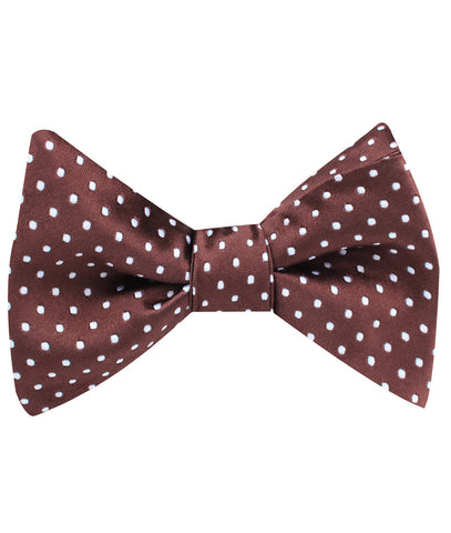 Brown Mini Polka Dots Self Bow Tie