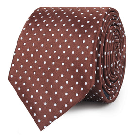 Brown Mini Polka Dots Skinny Tie