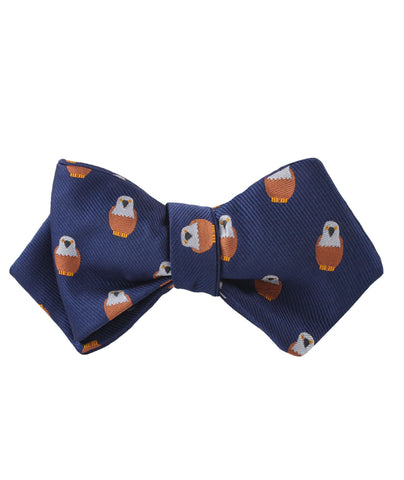 Brown Pigeon Bird Diamond Self Bow Tie