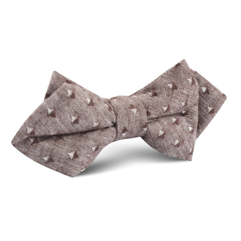 Brown Totem Inception Linen Diamond Bow Tie