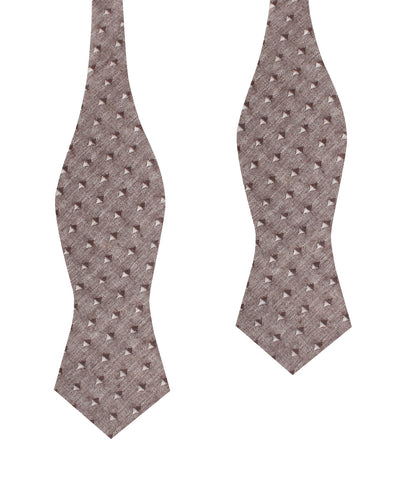 Brown Totem Inception Linen Diamond Self Bow Tie