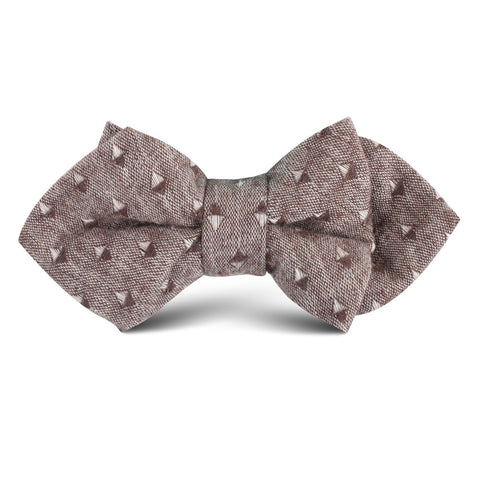Brown Totem Inception Linen Kids Diamond Bow Tie