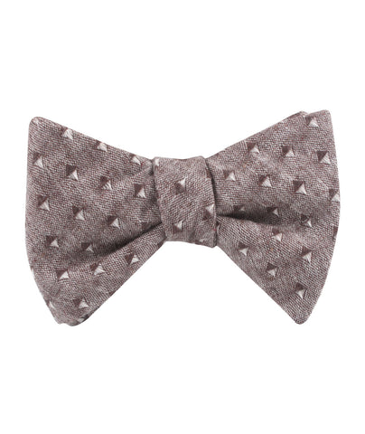 Brown Totem Inception Linen Self Bow Tie