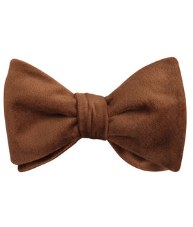Brown Velvet Self Bow Tie