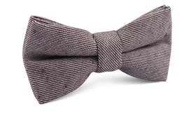 Brown & White Twill Stripe Linen Bow Tie
