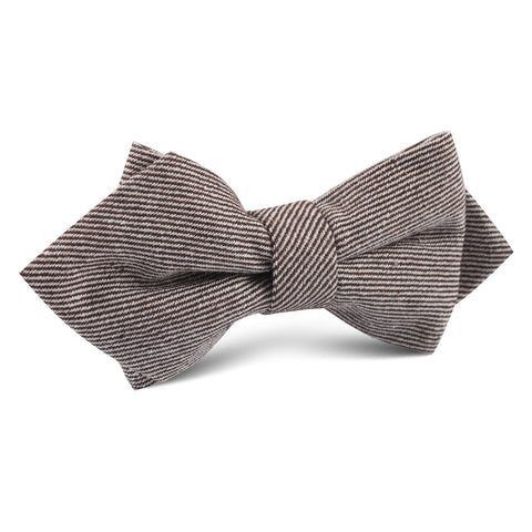 Brown & White Twill Stripe Linen Diamond Bow Tie