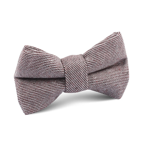 Brown & White Twill Stripe Linen Kids Bow Tie
