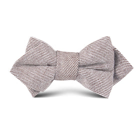 Brown & White Twill Stripe Linen Kids Diamond Bow Tie