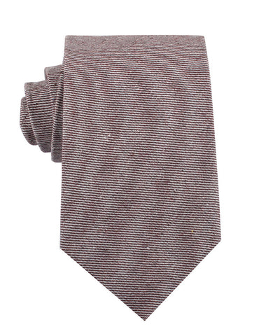 Brown & White Twill Stripe Linen Necktie
