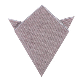 Brown & White Twill Stripe Linen Pocket Square