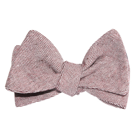 Brown & White Twill Stripe Linen Self Tie Bow Tie