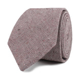Brown & White Twill Stripe Linen Skinny Tie Front Roll