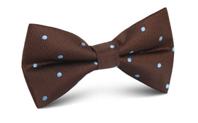 Brown on Blue Polkadot Bow Tie