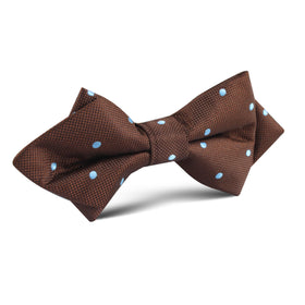 Brown on Blue Polkadot Diamond Bow Tie