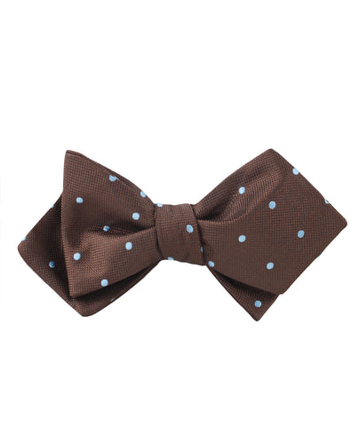 Brown on Blue Polkadot Diamond Self Bow Tie