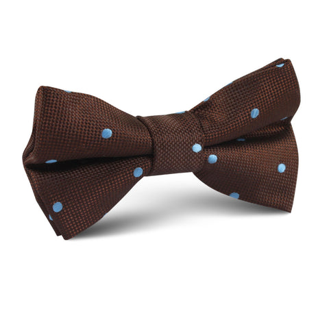 Brown on Blue Polkadot Kids Bow Tie