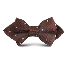 Brown on Blue Polkadot Kids Diamond Bow Tie
