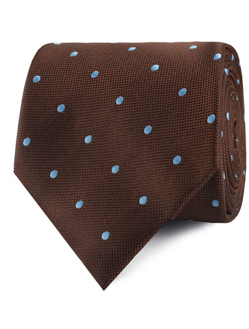 Brown on Blue Polkadot Tie