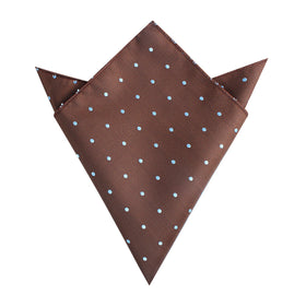 Brown on Blue Polkadot Pocket Square