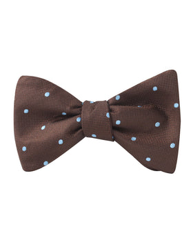 Brown on Blue Polkadot Self Bow Tie