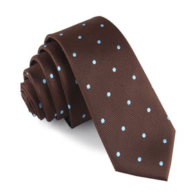 Brown on Blue Polkadot Skinny Tie