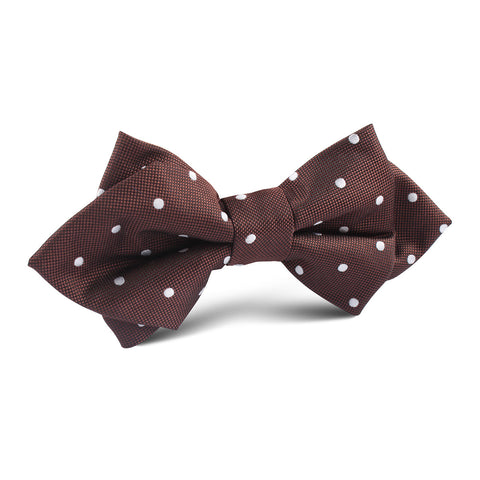 Brown with White Polka Dots Diamond Bow Tie