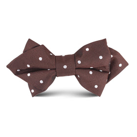Brown with White Polka Dots Kids Diamond Bow Tie