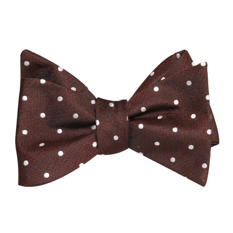 Brown with White Polka Dots Self Tie Bow Tie