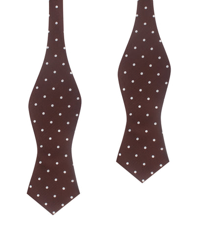 Brown with White Polka Dots Self Tie Diamond Tip Bow Tie