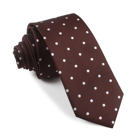 Brown with White Polka Dots Skinny Tie