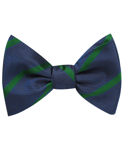 Brunswick Green Striped Self Bow Tie