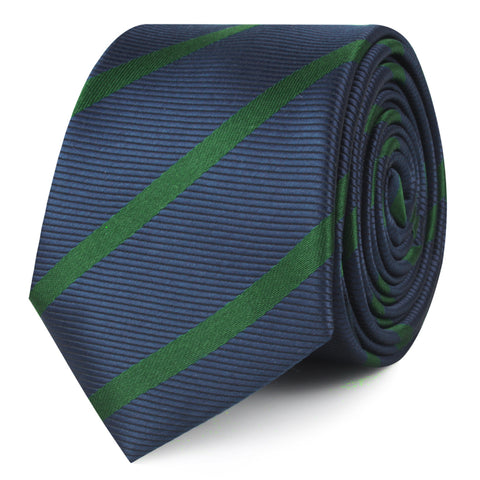 Brunswick Green Striped Skinny Tie