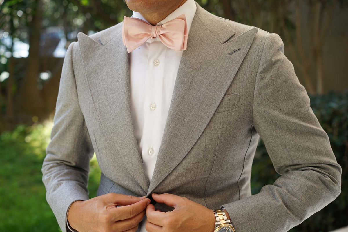 Peach Slub Self Bow Tie