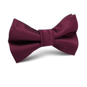 Burgundy Basket Weave Kids Bow Tie