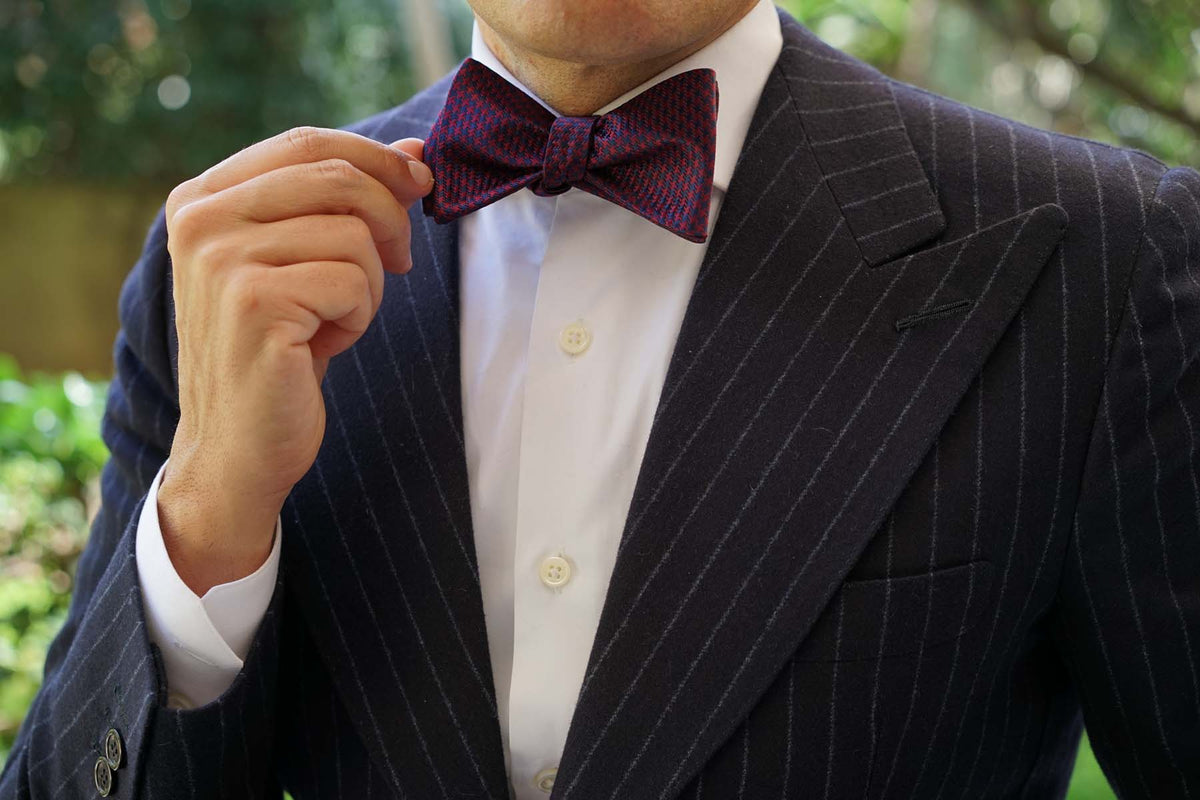 Burgundy Houndstooth Self Bow Tie