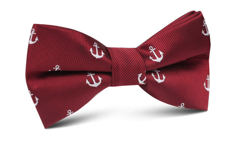 Burgundy Anchor Bow Tie