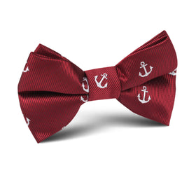 Burgundy Anchor Kids Bow Tie