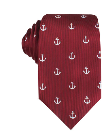Burgundy Anchor Necktie