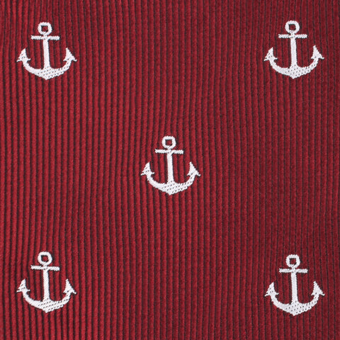 Burgundy Anchor Pocket Square