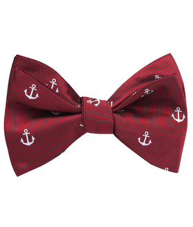 Burgundy Anchor Self Bow Tie