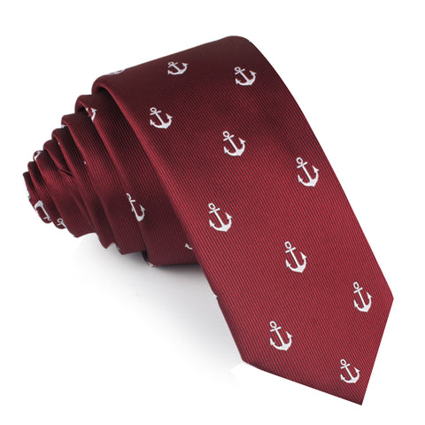 Burgundy Anchor Skinny Tie