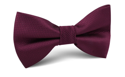 Burgundy Basket Weave Bow Tie