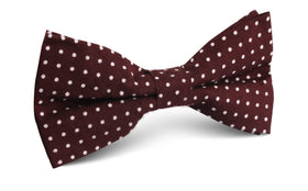Burgundy Cotton Polkadot Bow Tie